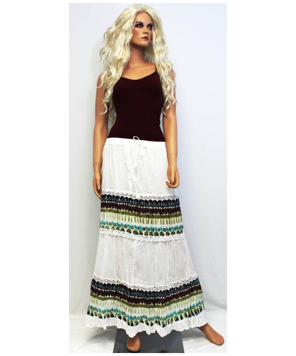 Printed Tiered Peasant Skirt Bohemian Long Skirt