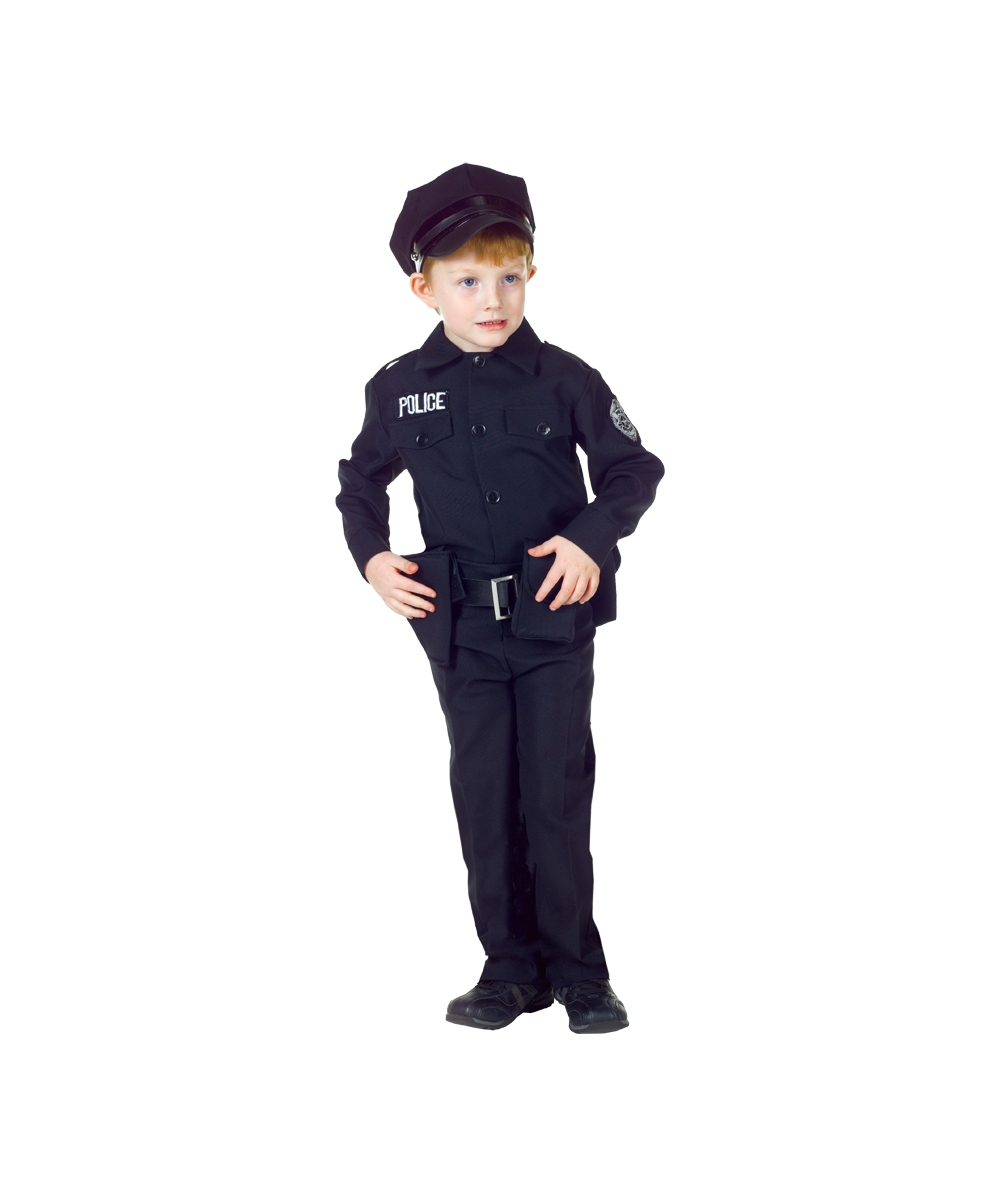 Black Policeman Boys Costume  sc 1 st  Halloween Costumes & Kids Policeman Officer Costume - Boys Costumes