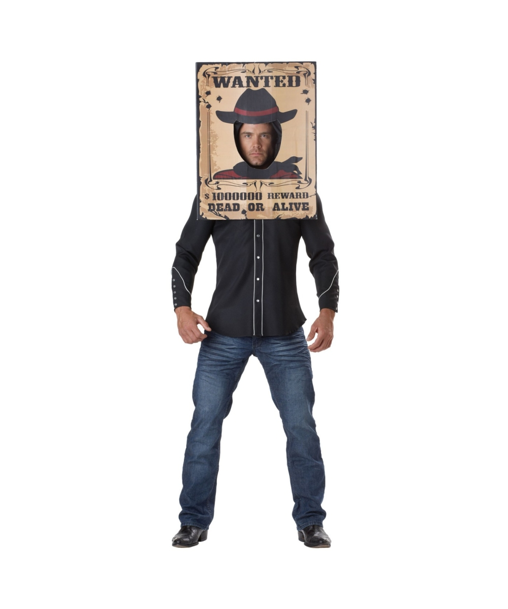Cowboy Wanted Poster Adult Costume Men Costumes