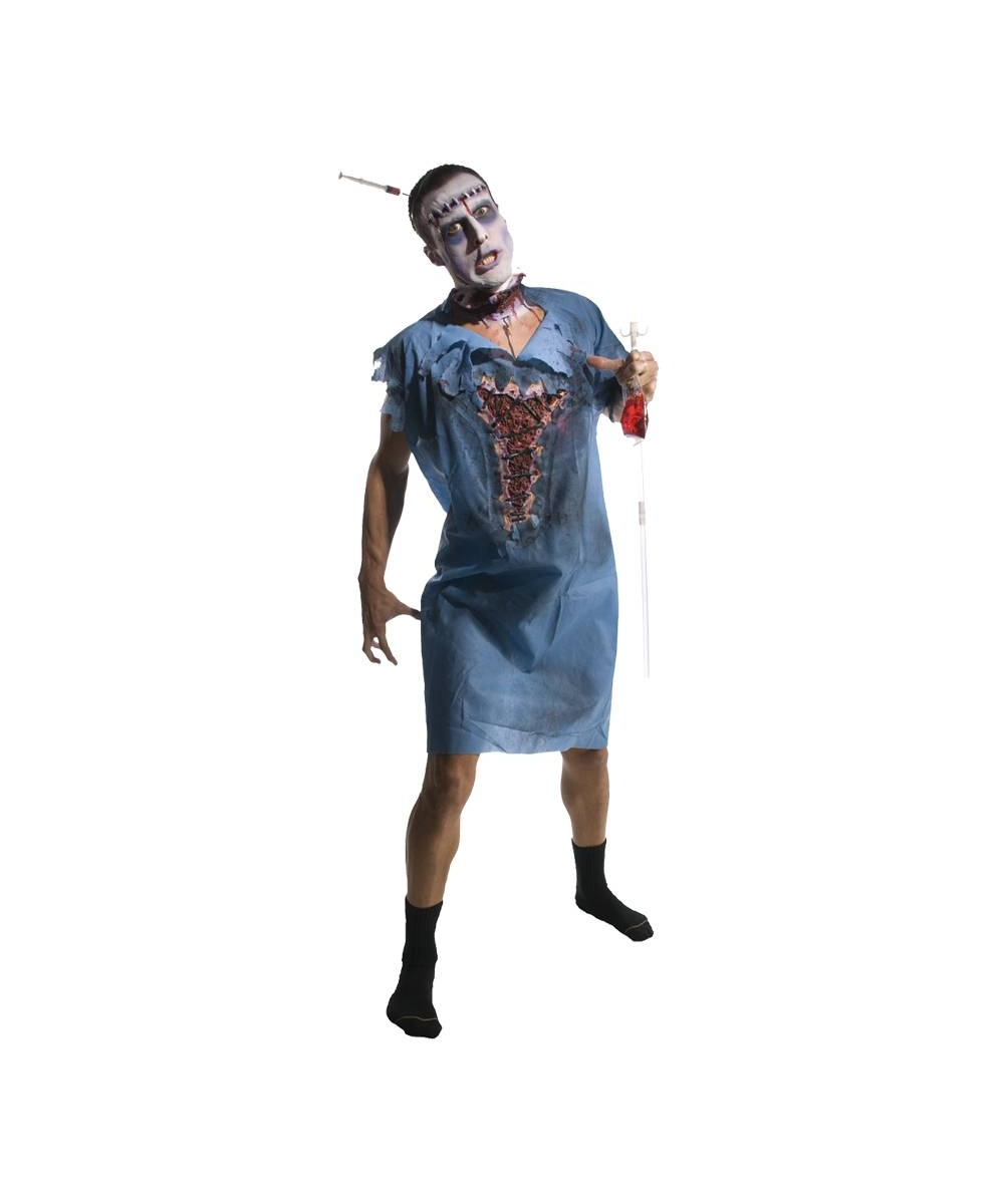 Adult Zombie Patient Gown Scary Halloween Costume - Men Costumes