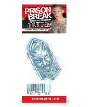 Prison Break Bar Code and Devil Arch Adult Tattoo