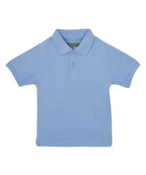 Light Blue Short Sleeve Pique Toddler Unisex Polo Universal School Uniforms