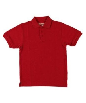 Red Short Sleeve Pique Kids/teens Unisex Polo Universal School Uniforms