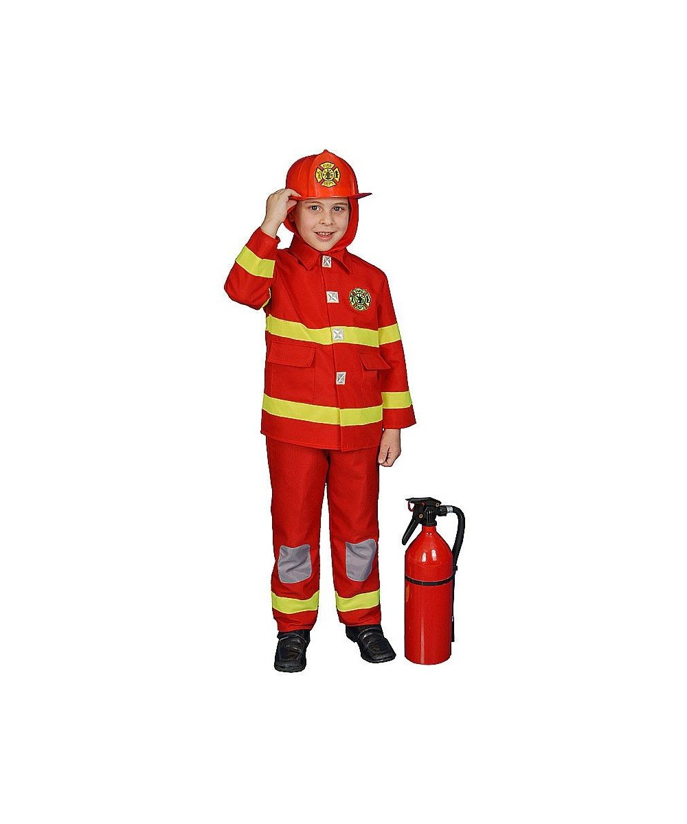 Fire Fighter Kids Costume Red Boys Costumes