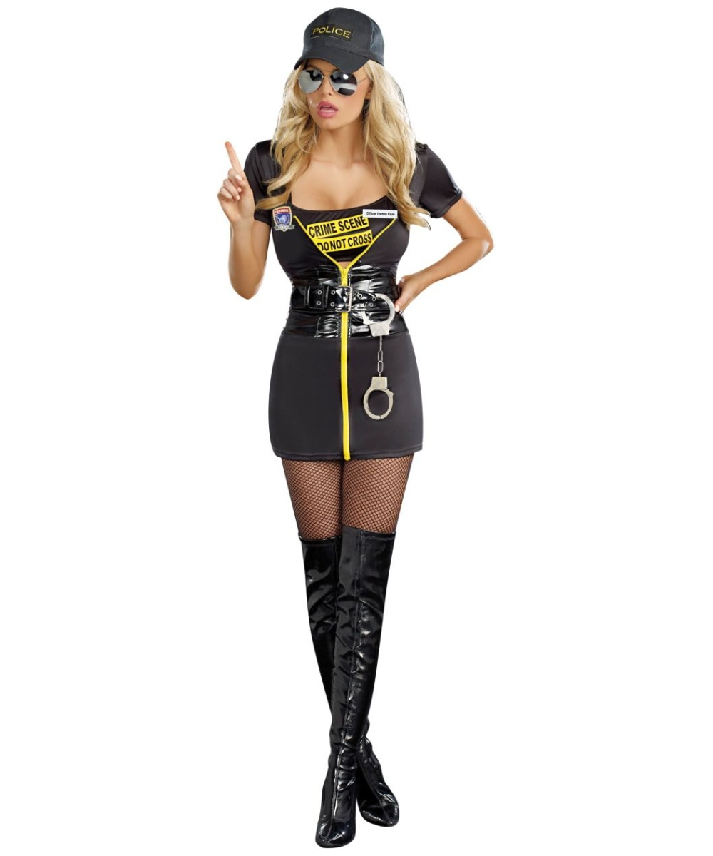 Adult Get A Clue Halloween Costume Women Police Dress