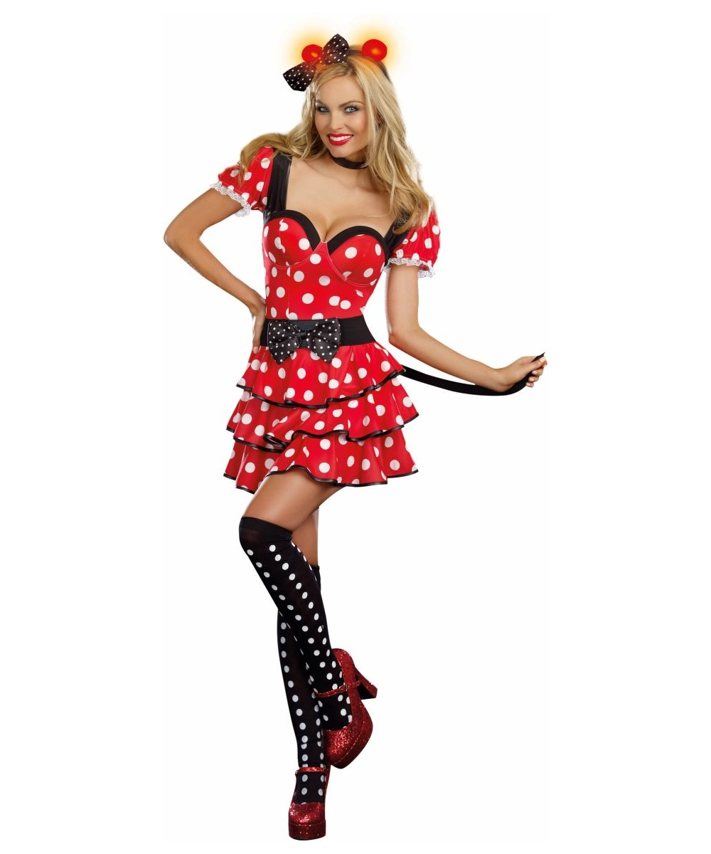 Miss Light-up Minnie Mouse Womenu0027s Costume Deluxe  sc 1 st  Halloween Costumes & Adult Miss Minnie Mouse Sexy Costume - Women Costumes