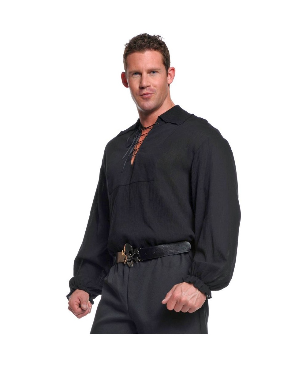 Black Pirate Shirt Men Plus Size Costume