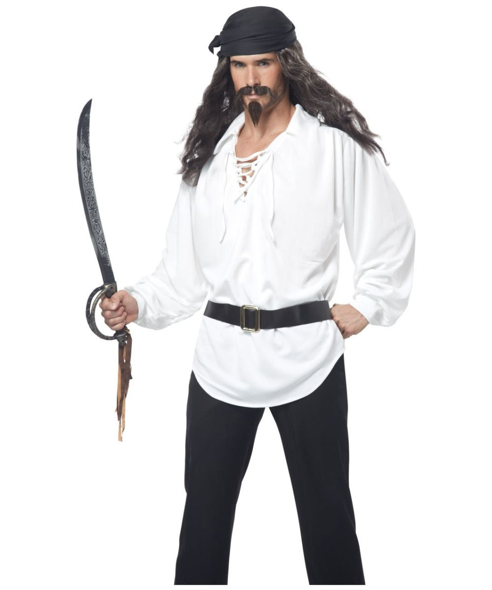 Pirate Adult Wig With Mustache And Chin Patch  sc 1 st  Halloween Costumes & Adult Pirate Kit Costume - Pirate Costumes