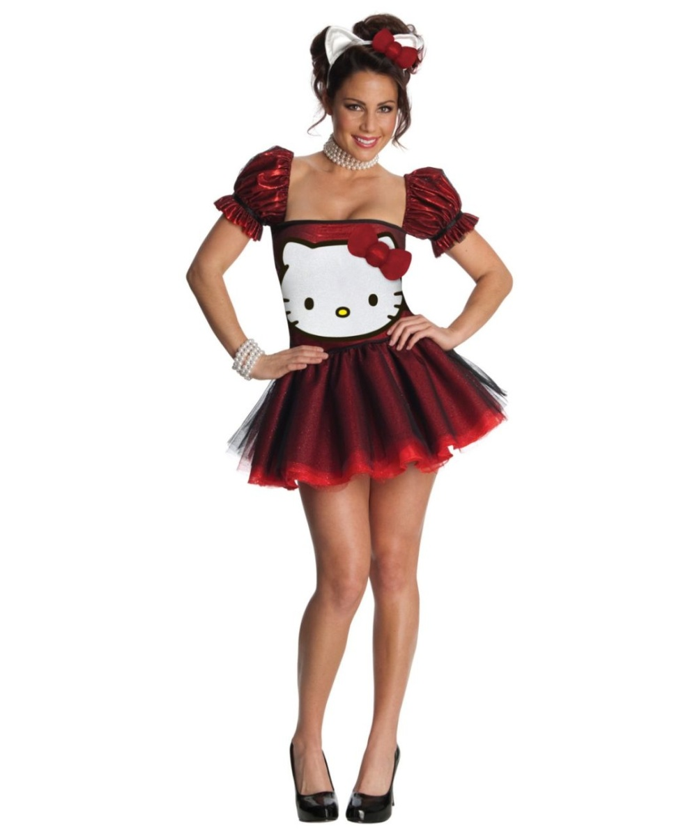 adult red hello kitty halloween costume - adult halloween costumes
