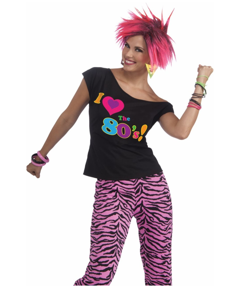 Adult 80s Shirt Remix Punk Halloween Costume - Women Costumes
