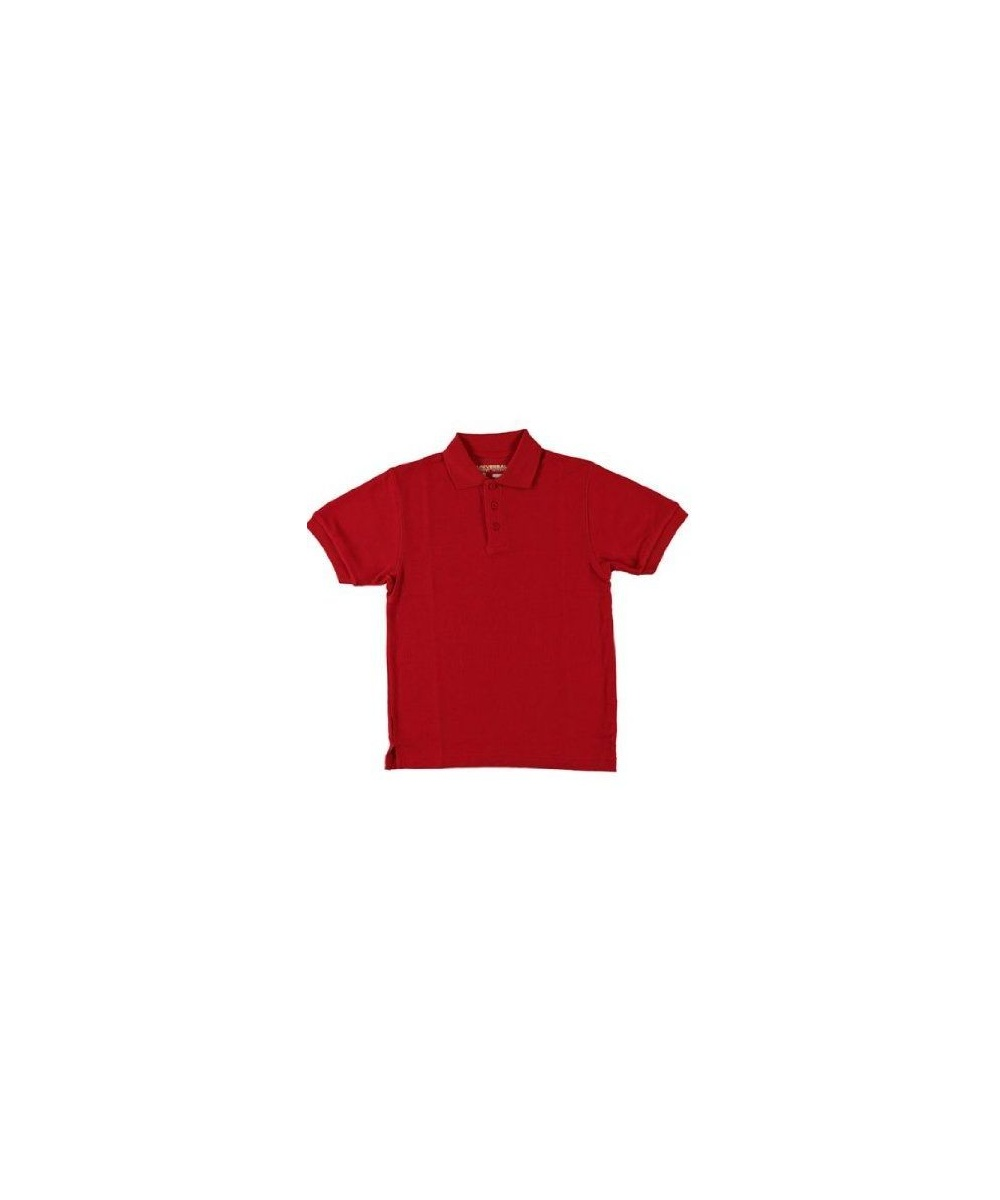 Sleeve Pique Polo School Uniforms Red