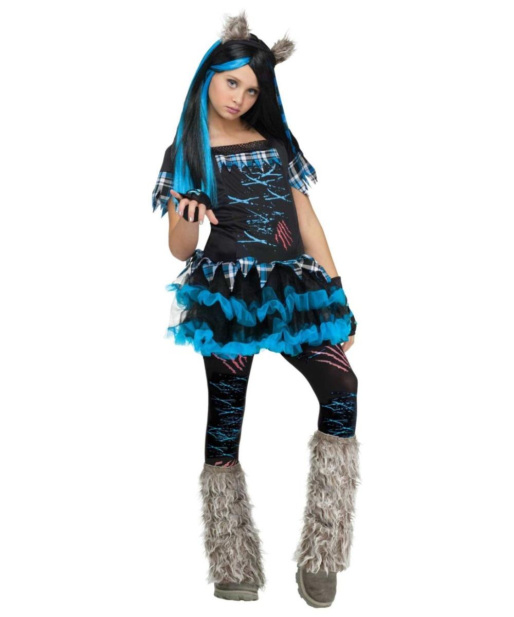 Wick'd Wolfie Kids Werewolf Animal Costume - Girls Costumes