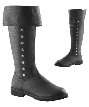 Black Faux Button Cuff Boots