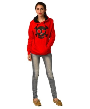 District Juniors Concert Fleece Drawstring Skull Hoodie With Rhinestones