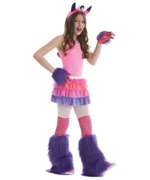 Girls Pink Monster Costume Kit