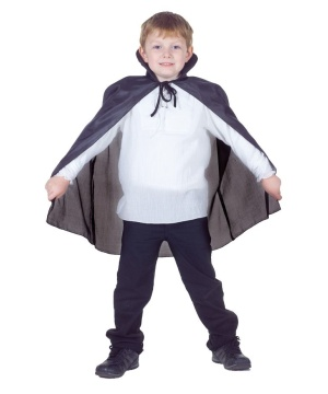 Kids Black Taffeta Cape