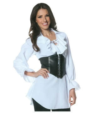 Womens Pirate Laced Front Blouse Shirt
