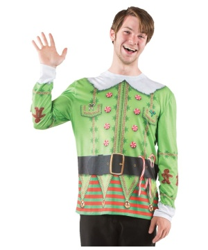 Christmas Elf Print Men's Costume Shirt