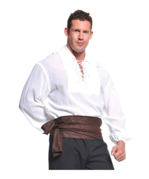 Mens White Pirate Shirt  sc 1 st  Wonder Costumes : basic pirate costume  - Germanpascual.Com