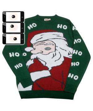 Peeking Santa Claus Digital Ugly Christmas Sweater