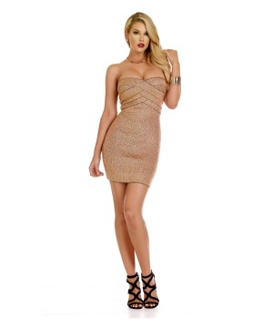 Sweetheart Lurex Metallic Bandage Mini Dress