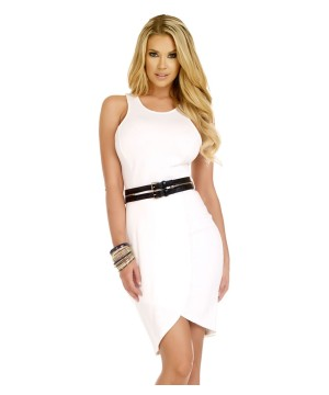 White Belted Racerback Midi Day Dress
