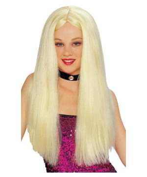 Womens Long Parted Blonde Wig