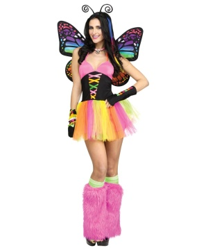 Brilliant Rainbow Butterfly Womens Costume deluxe