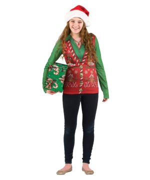 Ugly Christmas Vest Womens Costume T-shirt