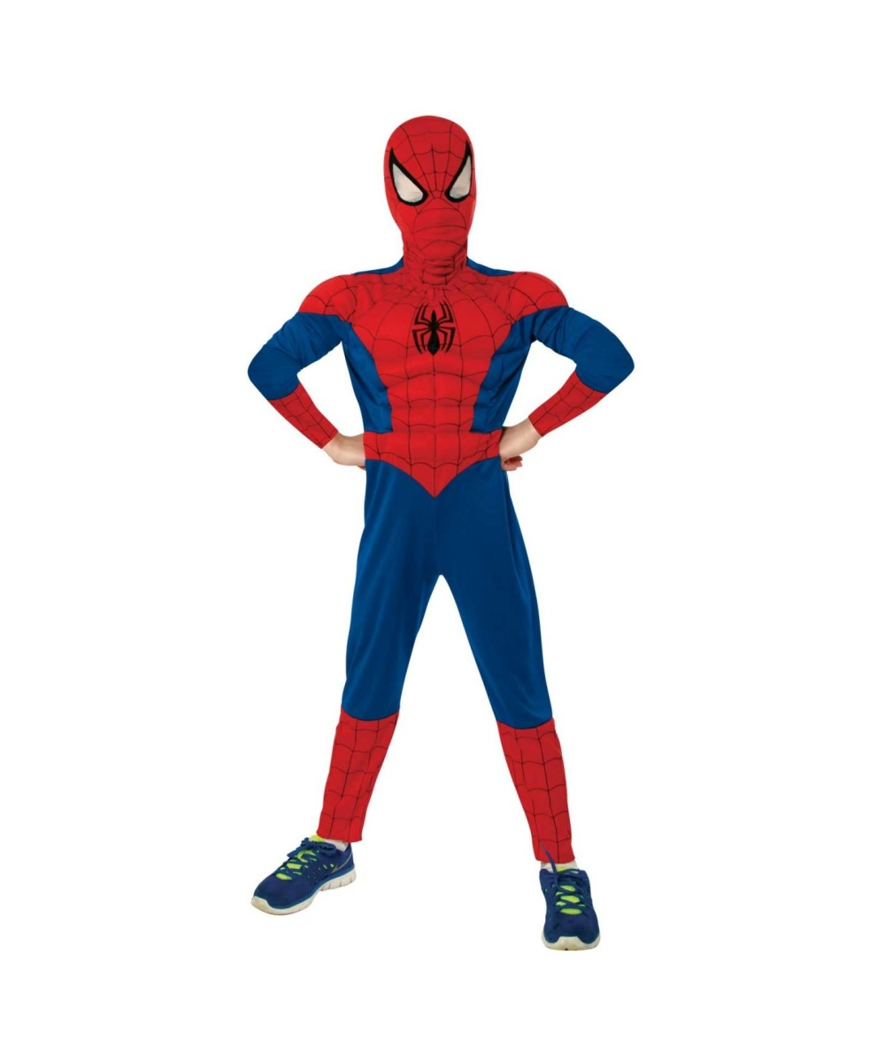 Ultimate Spiderman Muscle Chest Boys Costume Spiderman