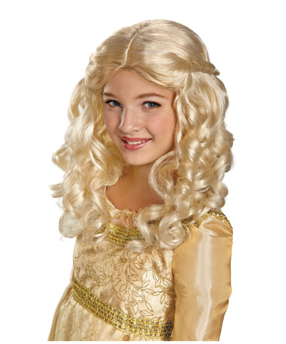 Maleficent Aurora Kids Wig Girls Costume