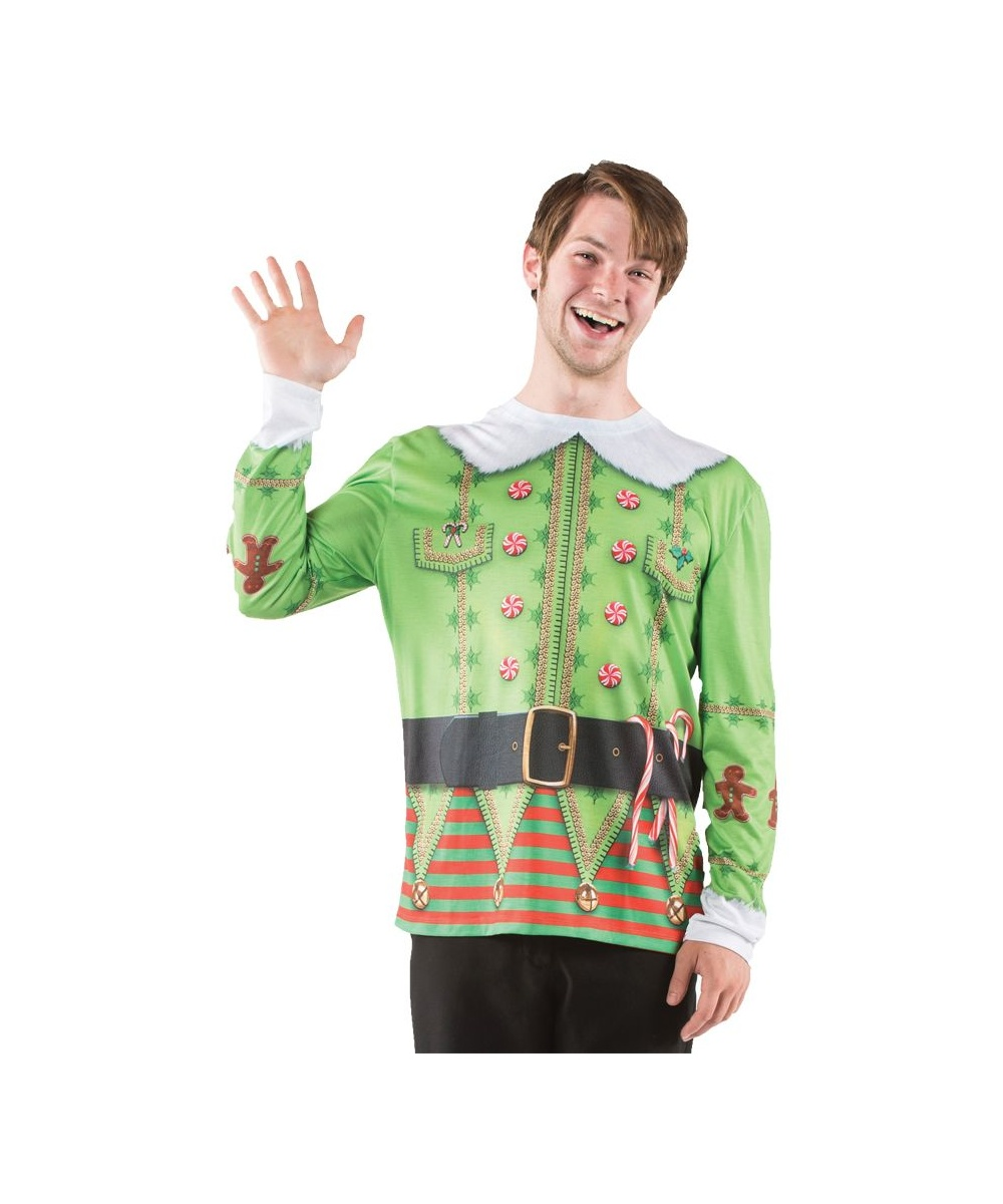 Mens Christmas Elf Costume Shirt