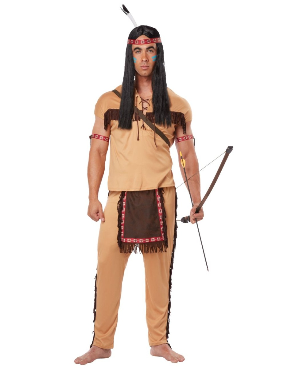 Native American Brave Mens Halloween Costume  sc 1 st  Halloween Costumes & Native American Brave Mens Costume - Men Indian Costumes