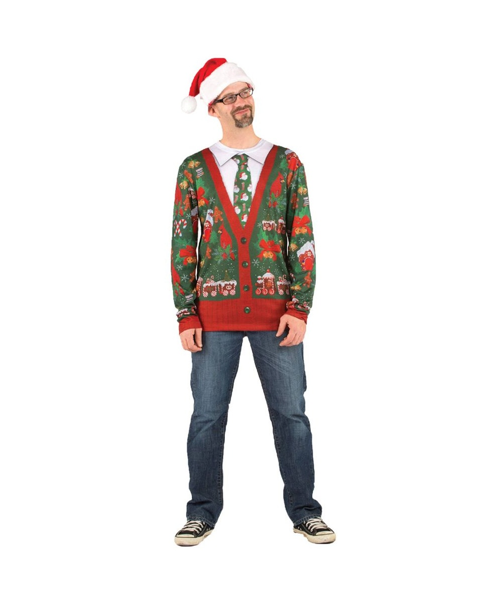 Mens Ugly Christmas Cardigan Shirt