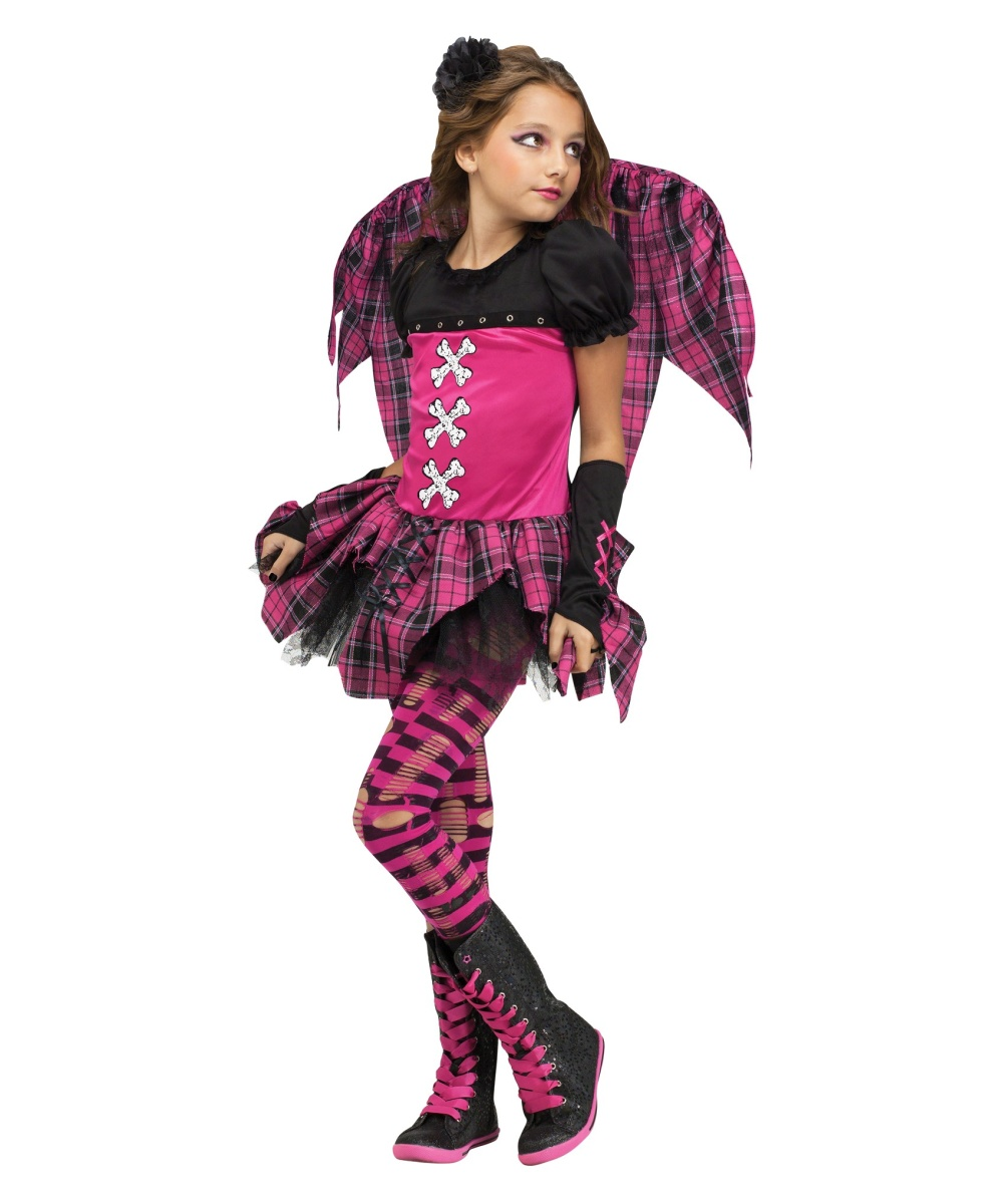 Pink Punky Fairy Girls Costume