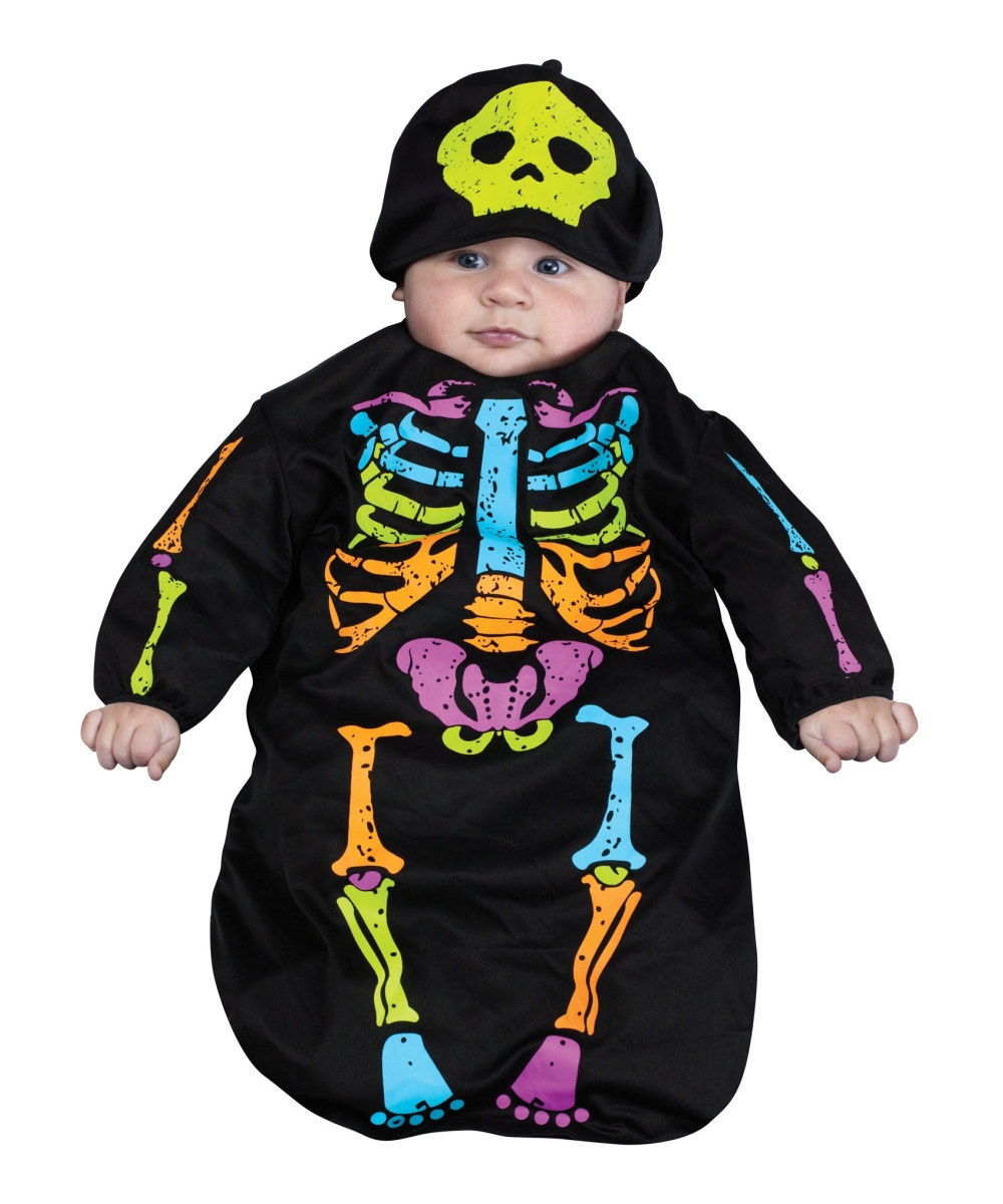 Halloween Costumes For Family Of 3 With A Baby Boy.Skeleton Bunting Baby Costume