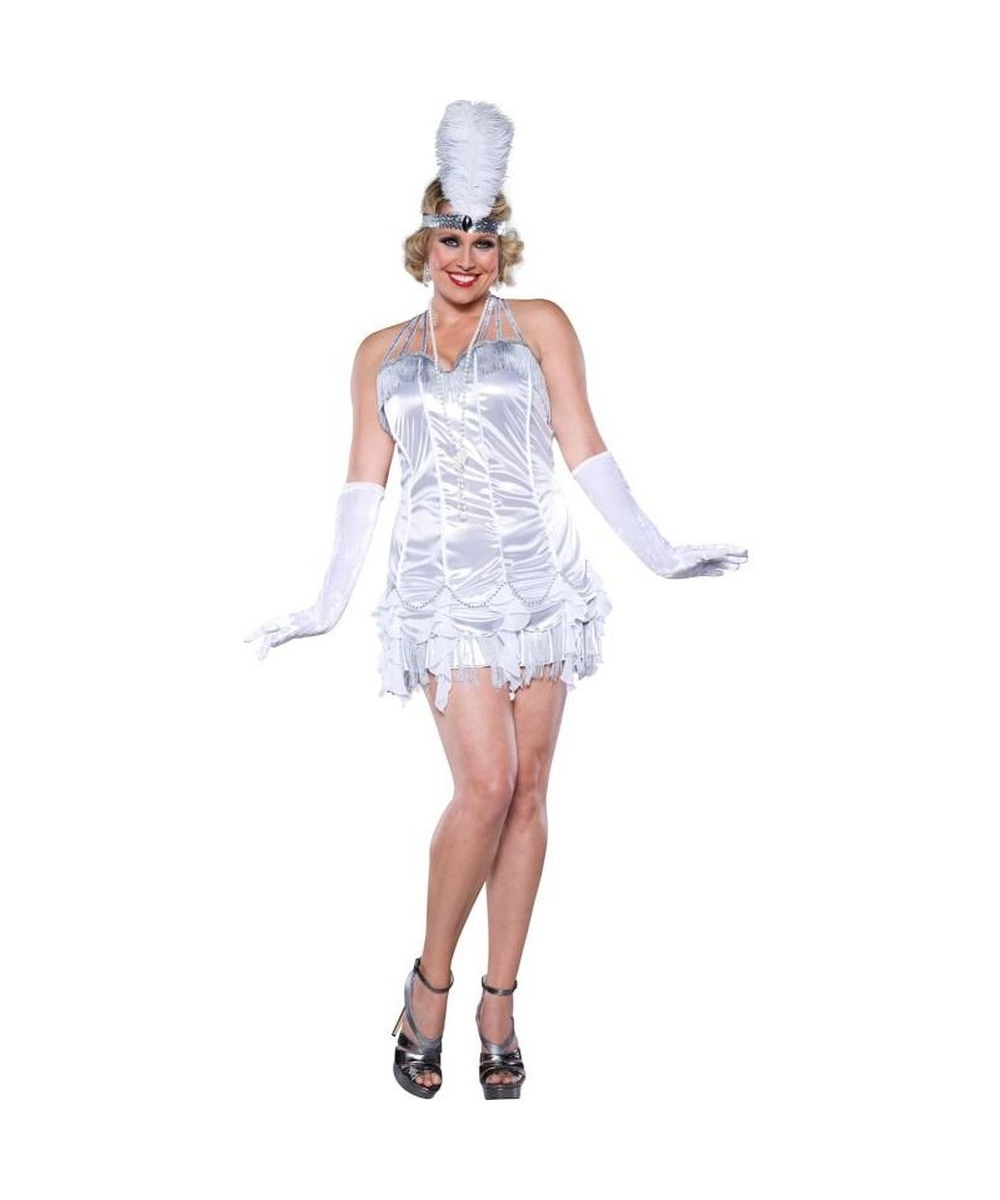 roaring 20s silver flapper womens plus size costume  sexy