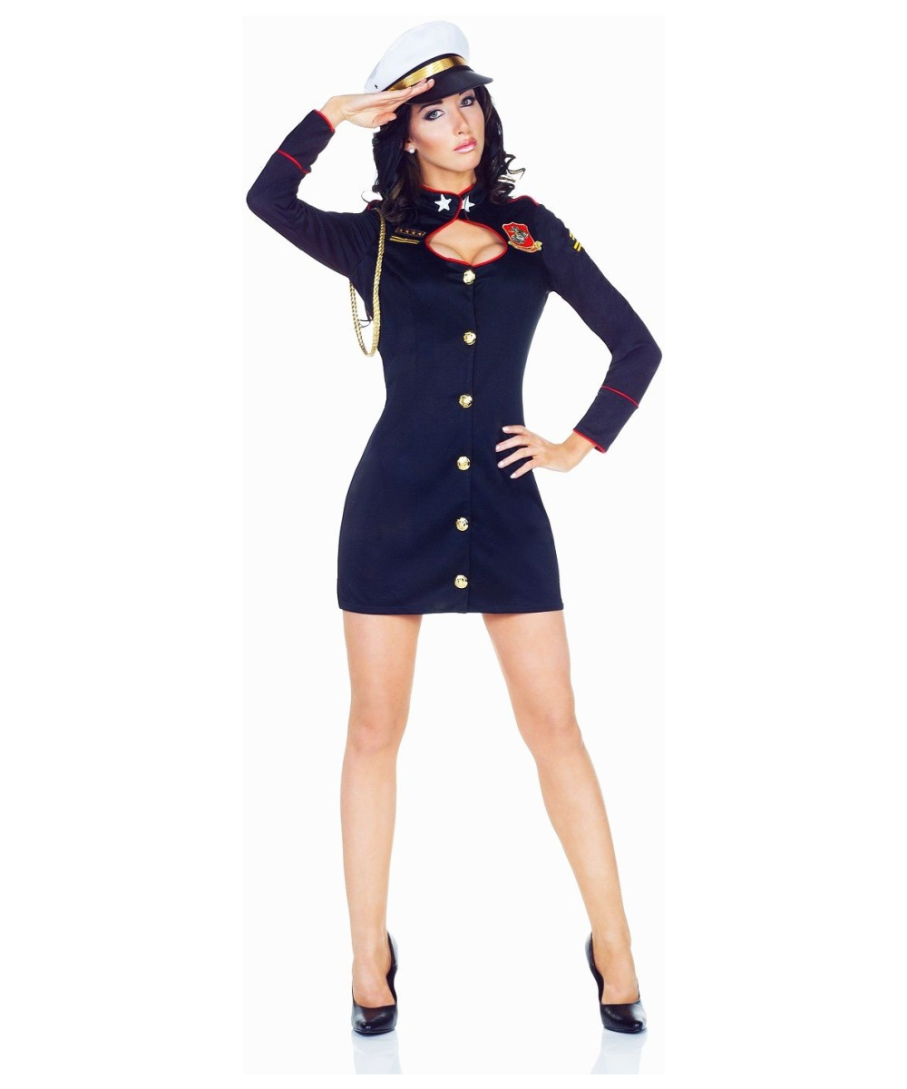 Major Trouble Black Navy Admiral Womens Costume