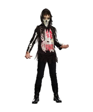Boys Bare Guts Skeleton Costume
