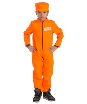 Boys Orange Jumpsuit Prisoner Costume