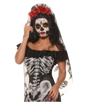 Day of the Dead Mantilla Headband and Veil