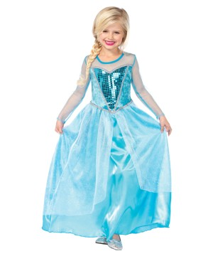 Girls Elsa Frozen Ice Costume