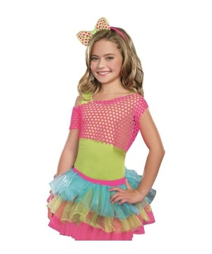 Girls Neon Bow Fishnet Headband