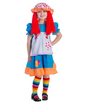 Girls Rainbow Rag Doll Baby Costume