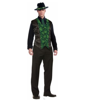 Mens Cannabis Formal Vest Costume