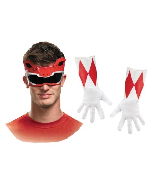 Red Power Ranger Men Mask and Gloves Set