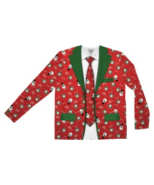 Ugly Christmas Suit Shirt and Tie Set