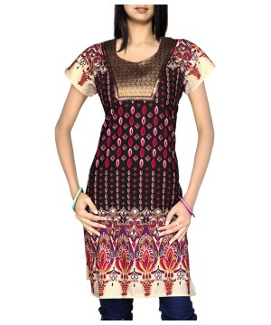 Womens Black Cotton Indian Kurti