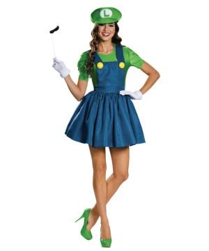 Super Mario Bros Sassy Luigi Womens Costume  sc 1 st  Wonder Costumes & Super Mario Bros Sassy Luigi Womens Costume - Video Game Costumes