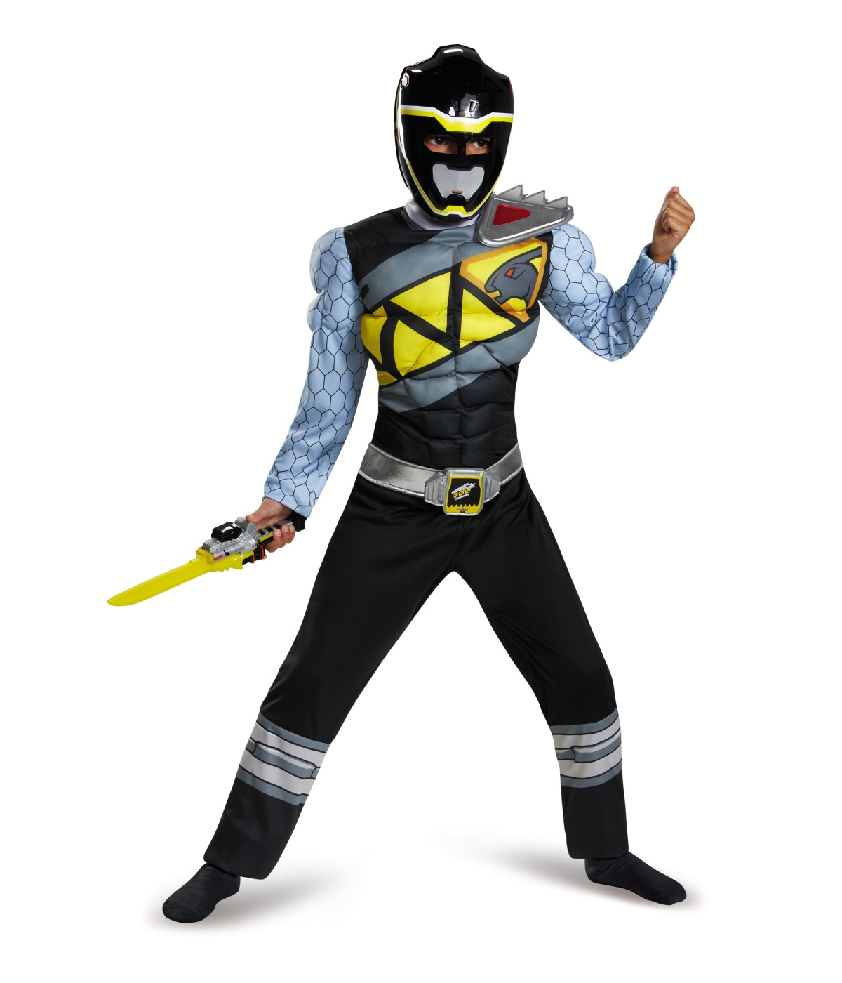 Black Power Ranger Dino Charge Boys Muscle Costume Tv